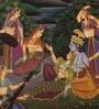 Silk & Paper 9 x 7 Inch Ideal Lord Radha Krishna Unframed Painting by Rajrang