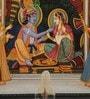 Silk 14 x 10 Inch Dazzling Lord Radha Krishna Unframed Painting by Rajrang