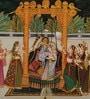 Silk 14 x 10 Inch Enticing Lord Radha Krishna Unframed Painting by Rajrang