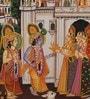 Silk 14 x 10 Inch Magnificent Lord Radha Krishna Unframed Painting by Rajrang