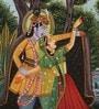 Silk 9.5 x 12.5 Inch Lord Radha Krishna Fascinating Unframed Painting by Rajrang