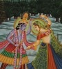 Silk 9.5 x 13 Inch Lord Radha Krishna Divine Unframed Painting by Rajrang
