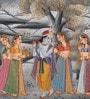 Silk 9 x 12 Inch Elegant Radha Krishna Unframed Painting by Rajrang