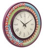 Multicolour MDF 16 Inch Bright Floral Ikat Hand Painted Round Wall Clock by Rang Rage