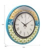 Rang Rage Multicolour MDF 16 Inch Spring Floral Ikat Hand Painted Round Wall Clock