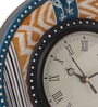 Rang Rage Multicolour MDF 9 Inch Sauve Ikat Hand Painted Round Wall Clock