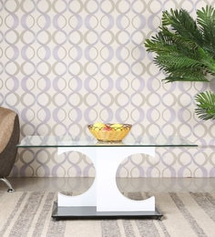 Rectangular Center Table With Glass Top In Black & White Finish
