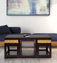 Rectangular Coffee Table With Two Cushioned Stools In Ochre Colour