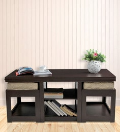 rectangular coffee table with two jute cushioned stools