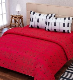 Red And White Cotton Queen Size Bedsheet - Set Of 3