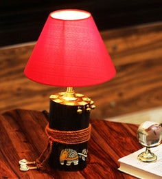 Red Cotton & Polyvinyl Red Shade Log Madhubani Hand Painted Table Lamp