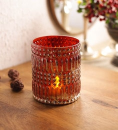 Red Glass Tea Light Holder - 1701131