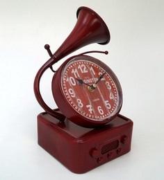 Red Metal & Glass 5.5 X 5.5 X 12 Inch Vintage Desk Clock