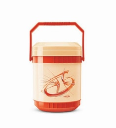 Red Plastic & Stainless Steel Lunch Box With Leak Lock 3 Containers