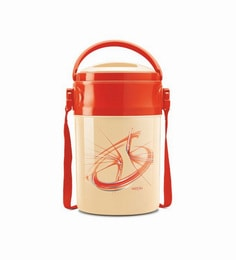 Red Plastic & Stainless Steel Lunch Box With Leak Lock 4 Containers