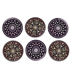 Reinvention Factory Multicolour Wooden Coasters With Medallion Design - Set Of 6
