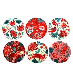 Reinvention Factory Multicolour Wooden Coasters With Palampore Design - Set Of 6