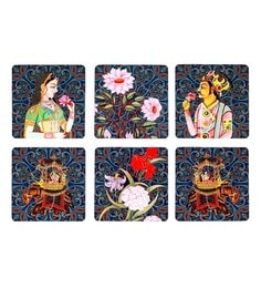 Reinvention Factory Multicolour Wooden Coasters With Raja Rani Design - Set Of 6