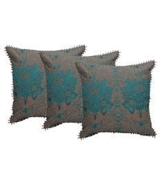 Reme Multicolour Cotton 18 X 18 Inch Magma Embroidered Cushion Covers - Set Of 3