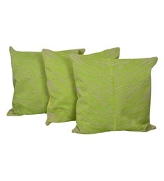 Reme Green Cotton 20 X 20 Inch Palm Leaves Cushion Covers - Set Of 3 - 1593131