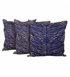 Reme Blue Cotton 20 X 20 Inch Palm Leaves Cushion Covers - Set Of 3