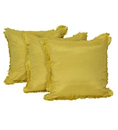Reme Yellow Silk 16 X 16 Inch Bright Sun Cushion Covers - Set Of 3