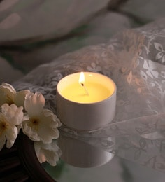 Resonance Candles Lime & Lilac Fragrance Natural Wax Aroma Candle With White Holder