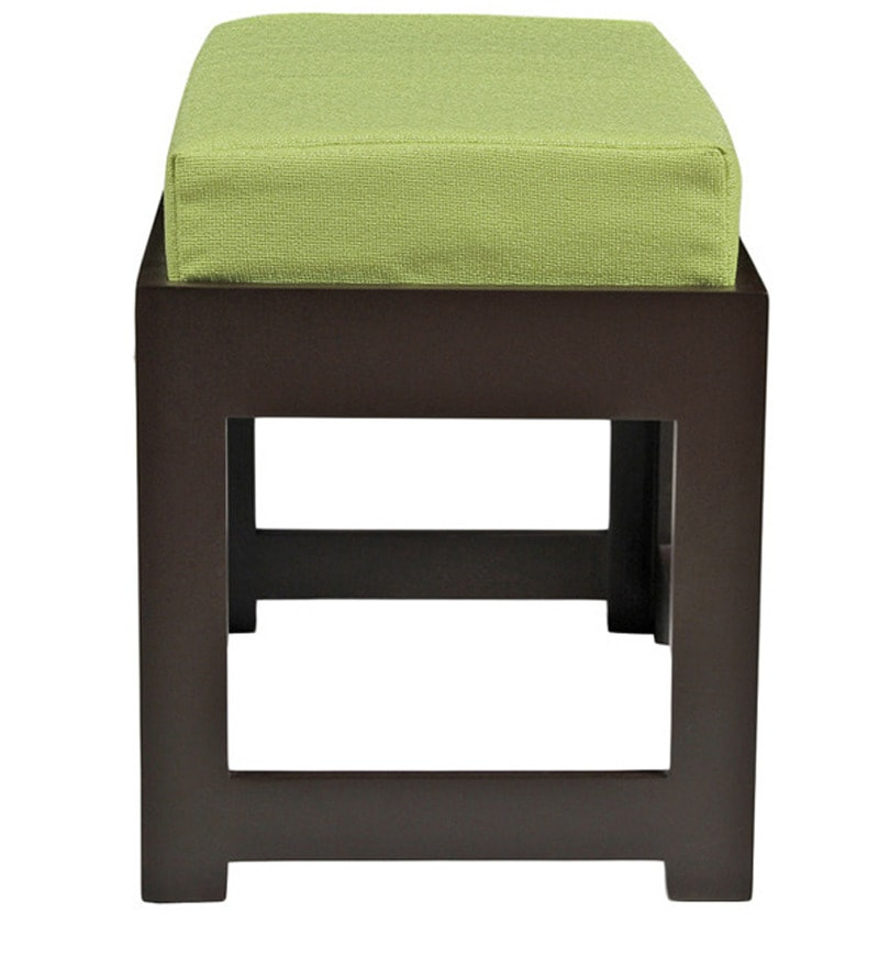 Buy Rectangular Coffee Table With Green Cushioned Stools