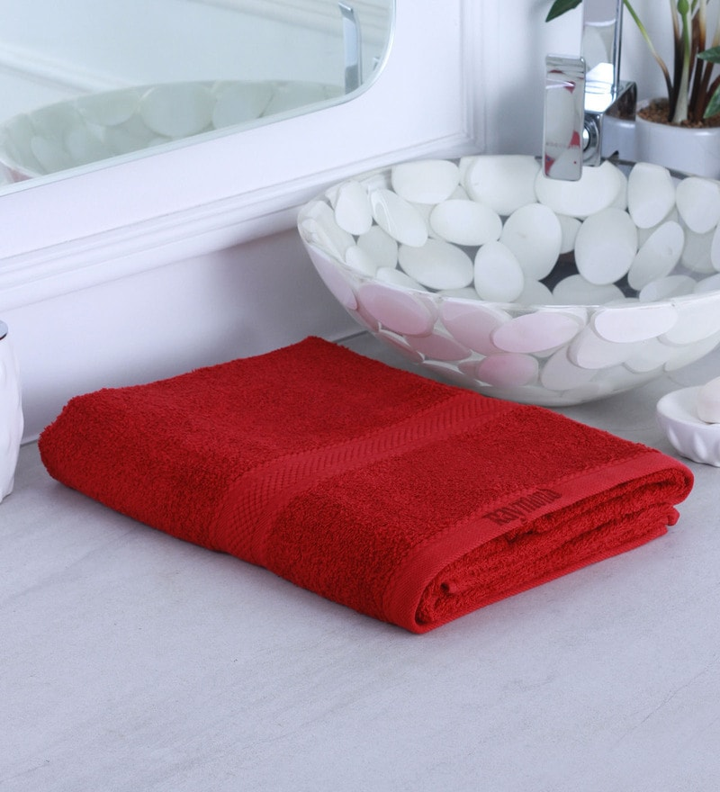 Red 100% Cotton Bath Towel by Raymond Home