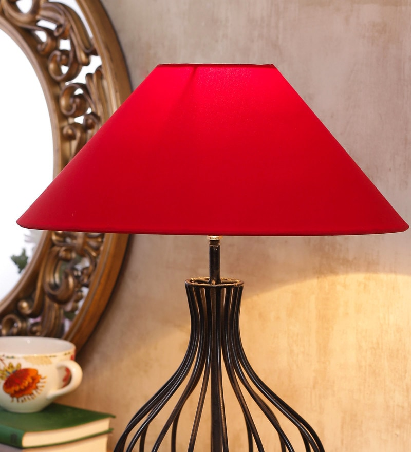 Buy light yellow acrylic fused with tusser silk cloth floor lamp red cotton and stiffener lamp shade by new era aloadofball Image collections