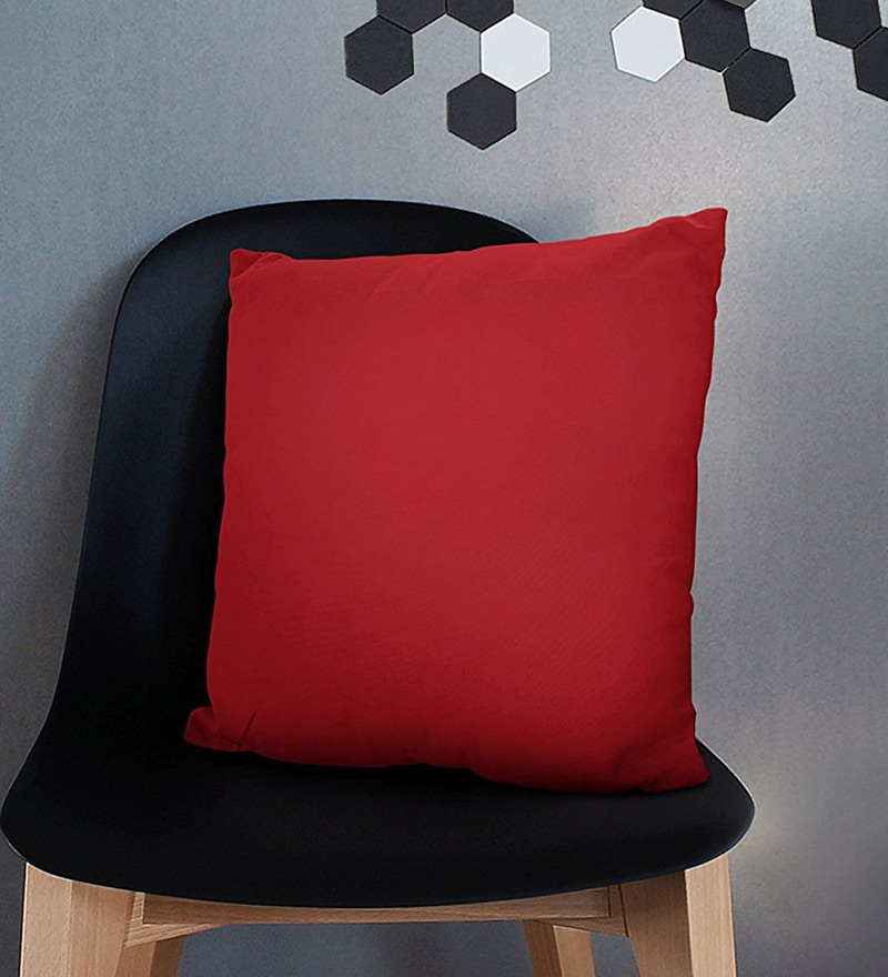 Red Cotton 12 x 12 Inch Cushion Covers - Set of 5 by Encasa Homes