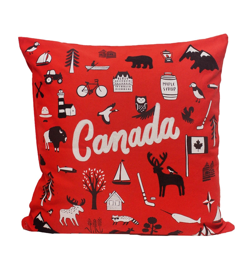 Red Cotton 20 x 20 Inch Cushion Covers - Set of 2 by R Home