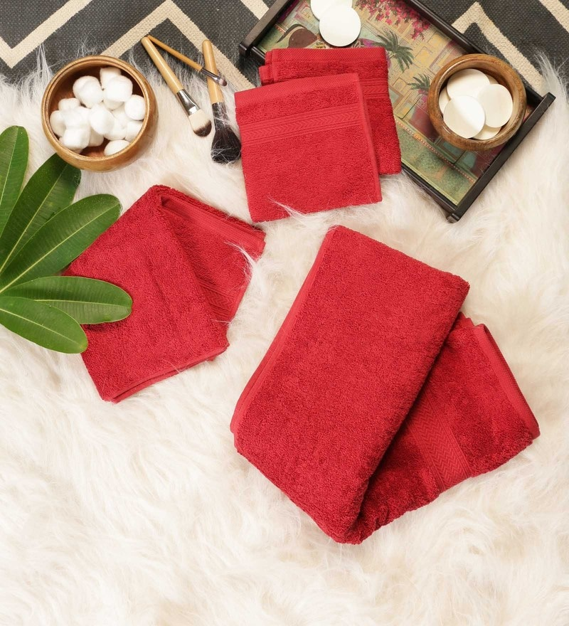 Red Cotton Bath, Hand & Face Towel Set - Set Of 4 by SWHF