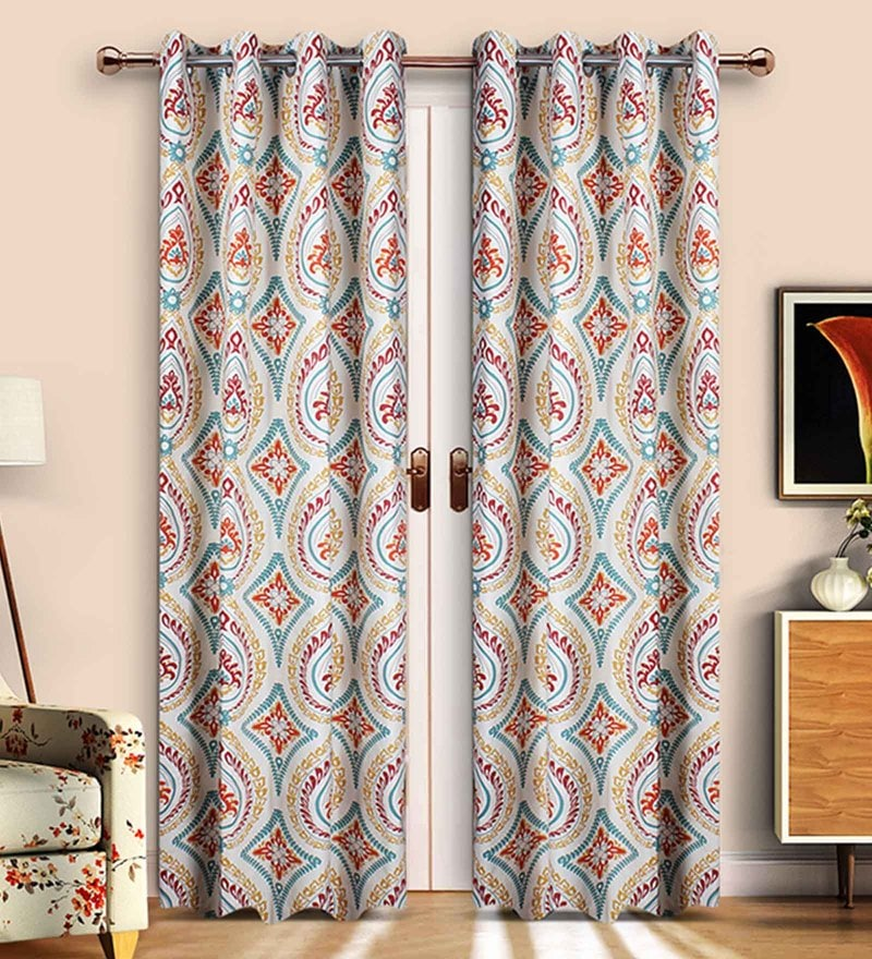 Red Cotton Floral Printed Door Curtain - Set of 2 by Vista Home Fashion