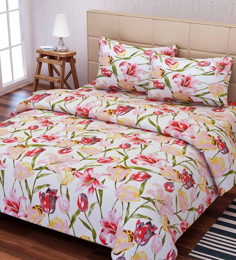 Essentials Floral Pattern 144TC Cotton Double Size Bed Sheet With 2 Pillow  Covers By SEJ By