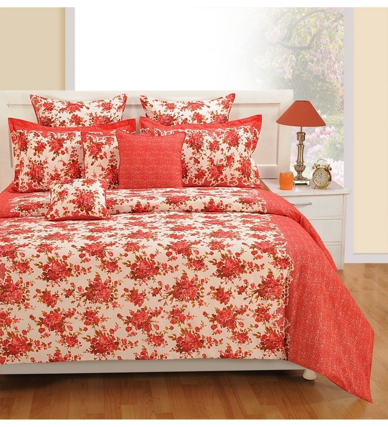 Superbe Red Cotton King Size Bedsheet   Set Of 3 By Swayam