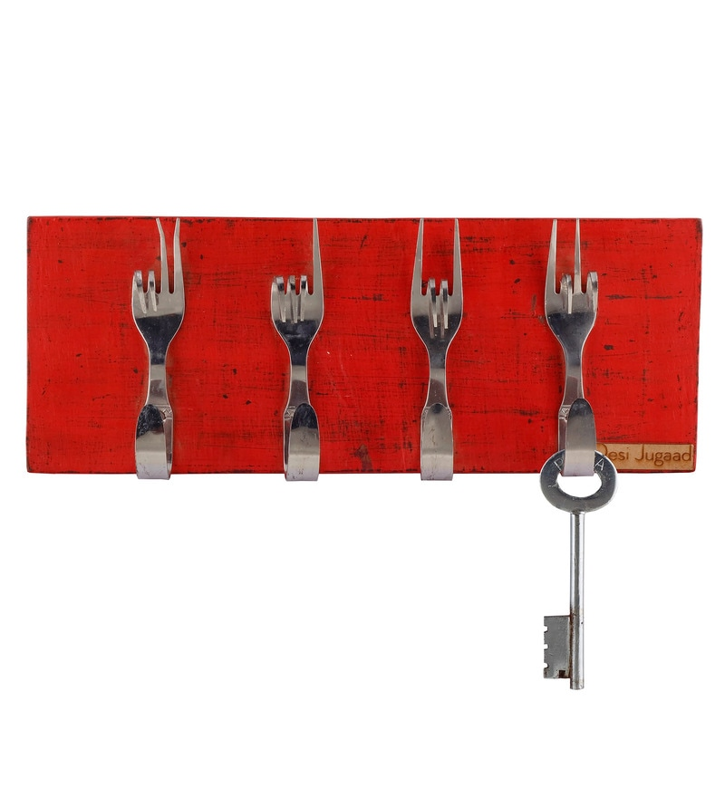 Red Plywood & Steel 12 x 0.8 x 4.5 Inch Fork Style Holder Red by Desi Jugaad