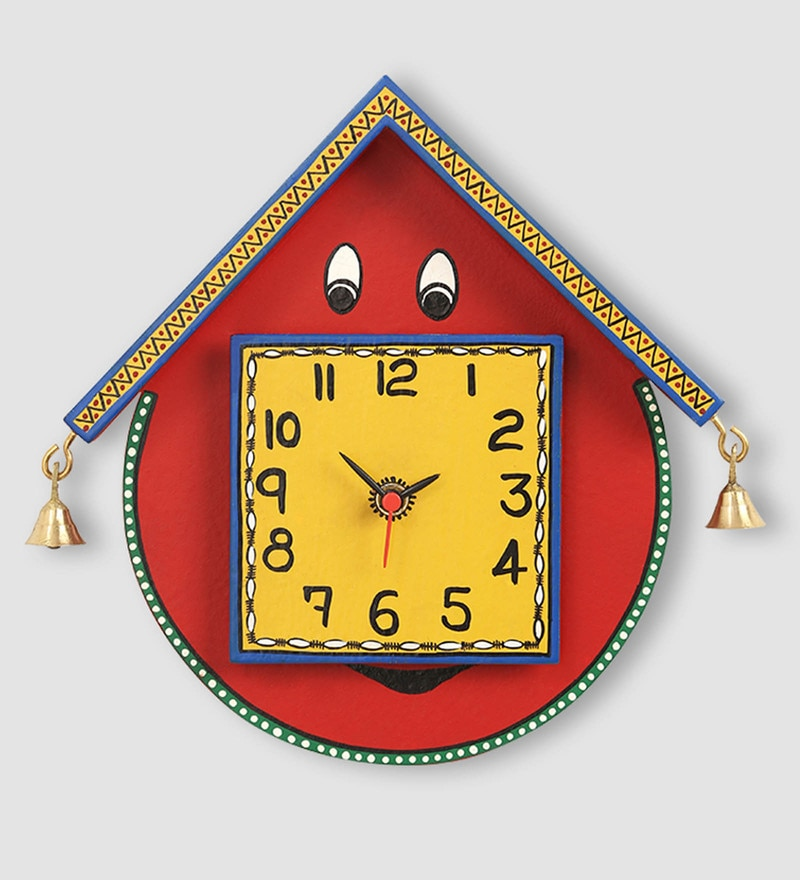 Red Recycled Wood Warli Handpainted  Kids Clock by ExclusiveLane