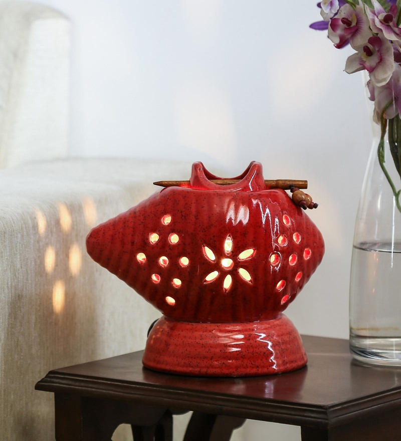 Red Stoneware Warmer and Burner by Unravel India