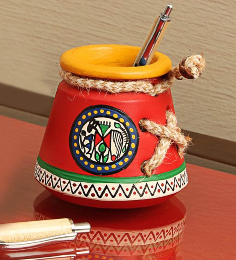 Red Terracotta Warli Handpainted Pen stands & holder by ExclusiveLane