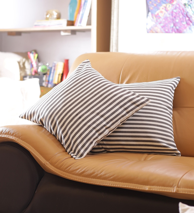 Grey Cotton 16 x 16 Inch Embroidered Cushion Cover - Set of 2 by Reme