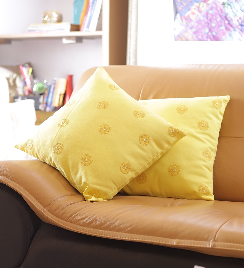Yellow Cotton 16 x 16 Inch Designer Cushion Cover - Set of 2 by Reme