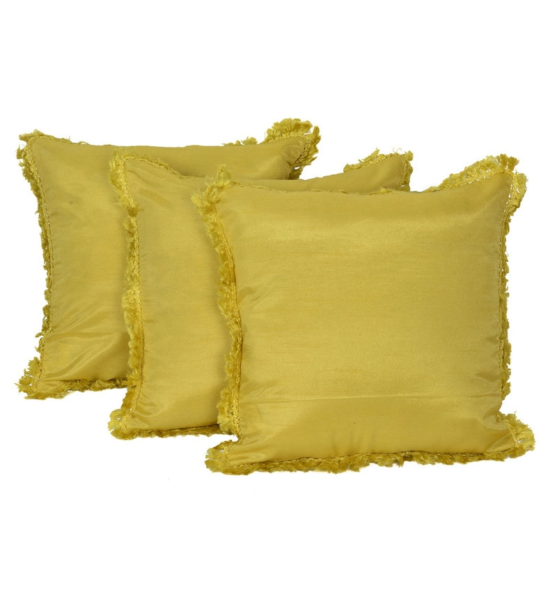 Yellow Silk 16 x 16 Inch Bright Sun Cushion Covers - Set of 3 by Reme