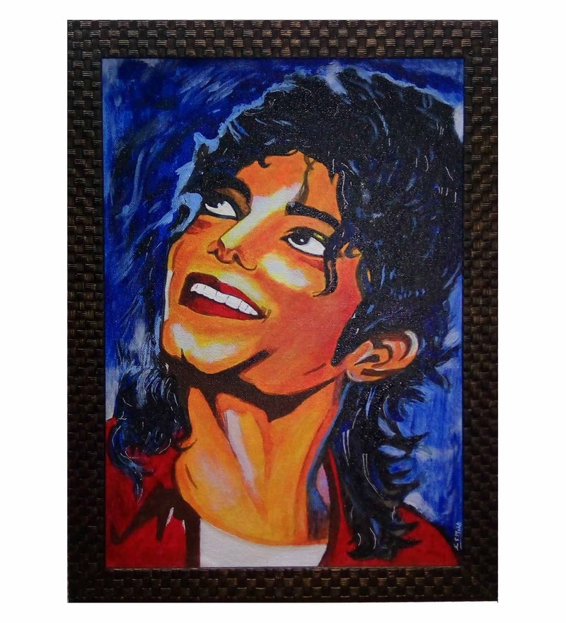 Retcomm Art Canvas 13 x 16 Inch Michael Jackson Framed Painting