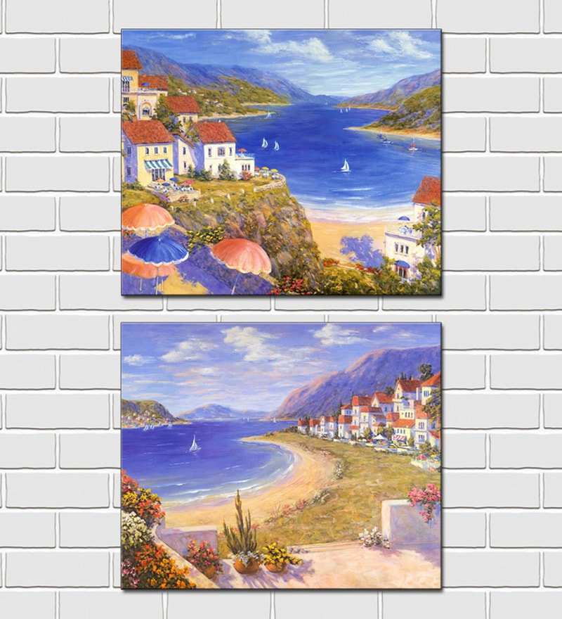 Retcomm Framed Multiple Canvas Paintings Beach Side Apartments Yachts Mountains