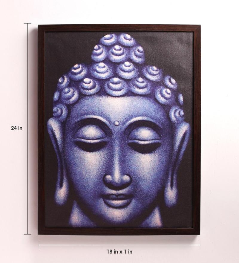 Buy Wooden 18 X 1 X 24 Inch Blue Gautam Buddha Face Framed
