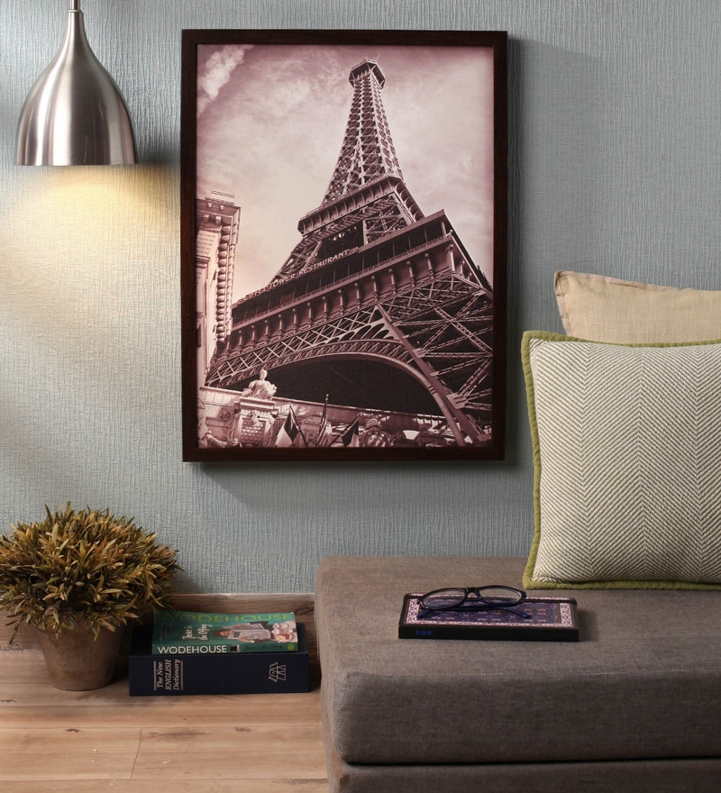 Wooden 18 x 1 x 24 Inch Eiffel Tower Close Up Framed Canvas Painting by Retcomm Art