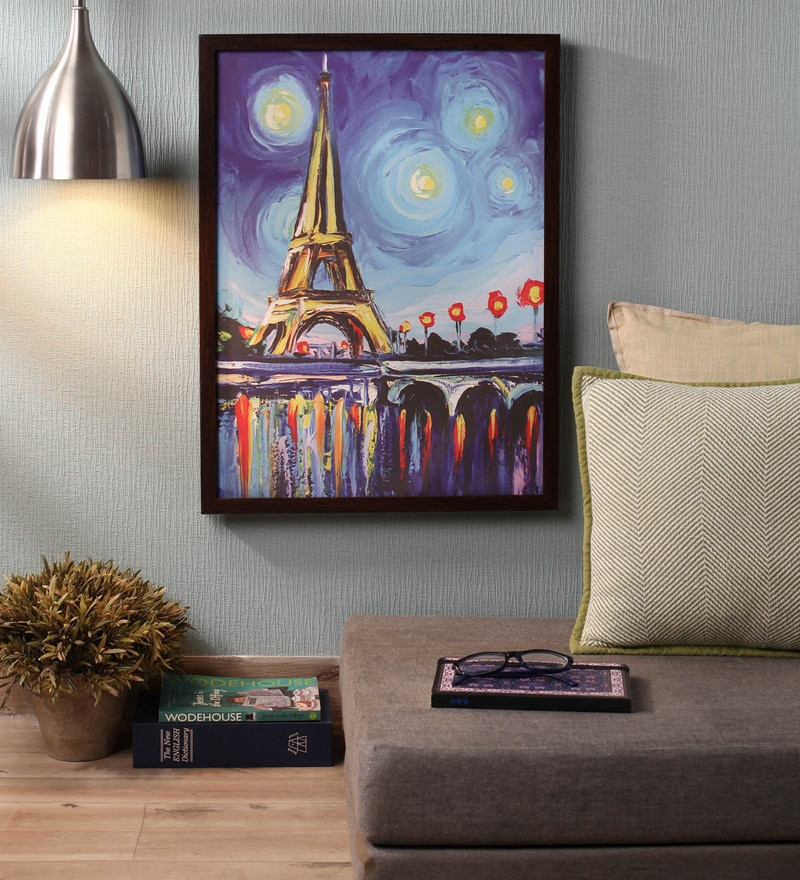 Wooden 18 X 1 24 Inch Shaded Eiffel Tower Framed Canvas Painting By Retcomm Art