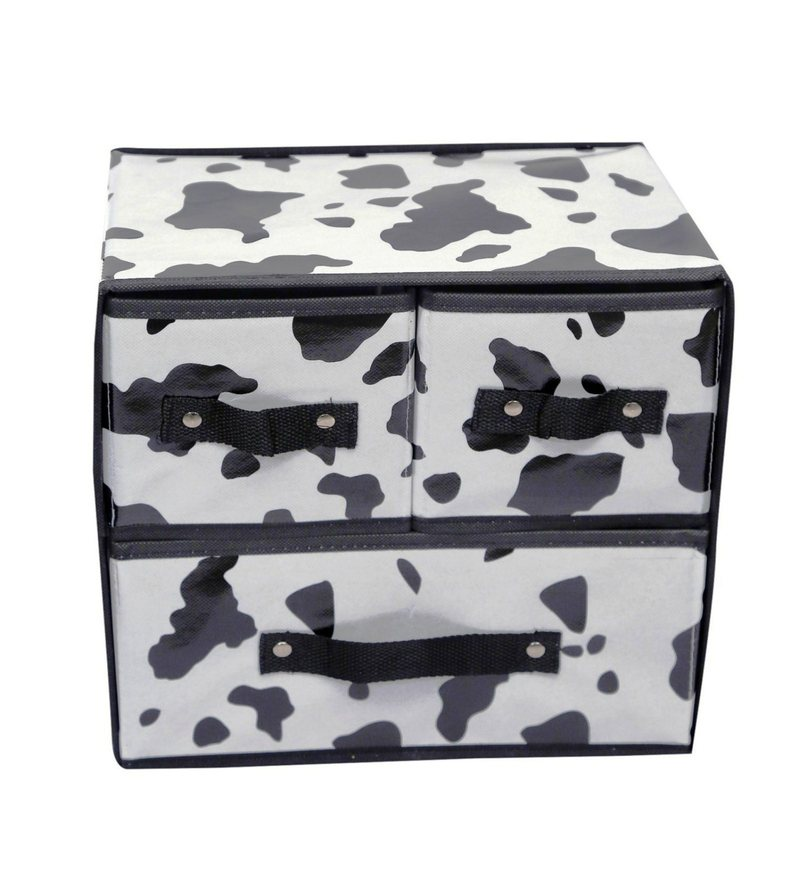 Rexin & Card Board Black & White Small Cloth & Accessories Storage Drawer by Home Creations - Set of 3