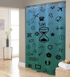 Blue Green Black Random Print Polyester Shower Curtain